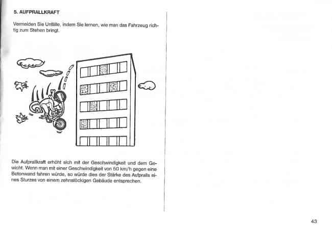 Sprowadzone z Niemiec motocykle mogą posiadać instrukcję. Ta ostrzega przed... zjazdem z budynków (fot. materiały własne)